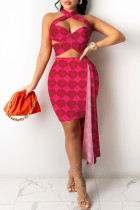 Red Fashion Sexy Print Split Joint Backless Sleeveless Two Pieces