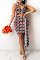 Grey Fashion Sexy Print Split Joint Backless Sleeveless Two Pieces
