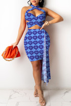 Blue Fashion Sexy Print Split Joint Backless Sleeveless Two Pieces