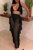 Black Fashion Sexy Patchwork Solid See-through Backless Strap Design Swimwears