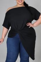 Black Fashion Casual Solid Asymmetrical Oblique Collar Plus Size Tops