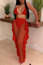 Red Fashion Sexy Patchwork Solid See-through Backless Strap Design Swimwears