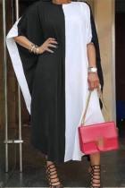 Black And White Fashion Casual Patchwork Basic O Neck Short Sleeve Dress Plus Size Dresses