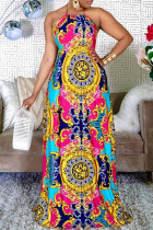 Multicolor Fashion Sexy Print Backless O Neck Sleeveless Dress