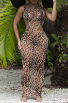 Leopard Print Sexy Print Split Joint Half A Turtleneck Pencil Skirt Dresses