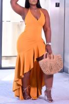 Yellow Fashion Sexy Solid Backless Halter Irregular Dress