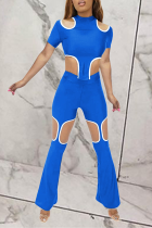 Blue Sexy Patchwork Hollowed Out O Neck Short Sleeve Two Pieces