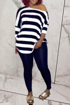 Black Casual Striped Split Joint O Neck Half Sleeve Two Pieces