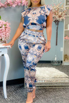 Light Blue Fashion Casual Print Basic O Neck Short Sleeve Two Pieces