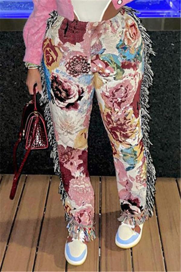 Pink Fashion Casual Print Tassel Regular Mid Waist Trousers