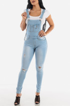 Baby Blue Fashion Casual Solid Ripped Pocket Regular Denim Jumpsuits