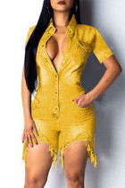 Yellow Fashion Solid Buttons Asymmetrical Turndown Collar Plus Size Jumpsuits