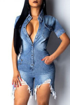 Blue Fashion Solid Buttons Asymmetrical Turndown Collar Plus Size Jumpsuits