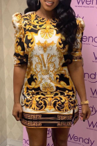 Gold Sexy Print High Opening O Neck Pencil Skirt Dresses
