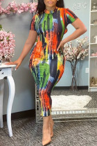 Multicolor Fashion Casual Tie Dye Printing O Neck Short Sleeve Dress