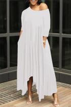 White Fashion Solid Asymmetrical Oblique Collar Long Dresses