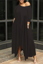 Black Fashion Solid Asymmetrical Oblique Collar Long Dresses