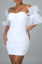 White Sexy Solid Mesh Off the Shoulder Pencil Skirt Dresses