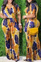 Yellow Casual Print With Belt V Neck Plus Size Jumpsuits