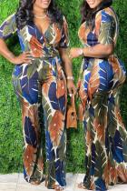 Blue Casual Print With Belt V Neck Plus Size Jumpsuits