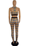 Khaki Fashion Casual Sleeveless U Neck Tank Short Plaid Print Two Pieces