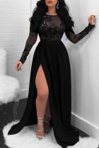 Black Fashion Patchwork Sequins Backless Slit O Neck Long Sleeve Dresses