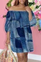 Blue Fashion Casual Print Backless Off the Shoulder Printed Dress