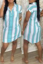 Sky Blue Fashion Casual Striped Print Basic Turndown Collar Shirt Dress