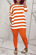 Tangerine Red Casual Striped Split Joint O Neck Half Sleeve Two Pieces