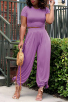 Purple Fashion Casual Solid Basic O Neck Short Sleeve Two Pieces