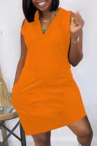 Orange Fashion Casual Solid Pocket V Neck Vest Dress
