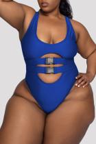 Blue Fashion Sexy Print Leopard Hollowed Out U Neck Plus Size Swimwear