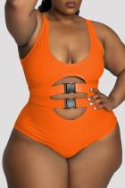 Orange Fashion Sexy Print Leopard Hollowed Out U Neck Plus Size Swimwear