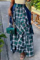Blue Fashion Casual Plaid Print Split Joint Regular High Waist Skirt