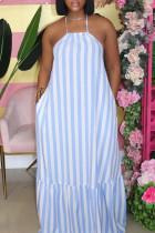 Blue White Fashion Casual Striped Print Backless Halter Sleeveless Dress