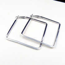 Silver Fashion Solid Hollowed Out Geometric Square Earrings