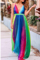 Rainbow Color Casual Daily Patchwork Mesh Spaghetti Strap A Line Dresses