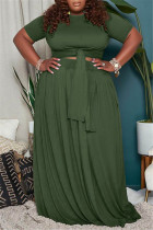 Green Fashion Casual Solid Basic O Neck Plus Size Two Pieces