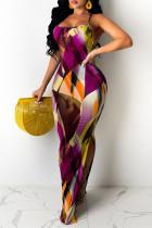 Fuchsia Fashion Sexy Print Backless Spaghetti Strap Sleeveless Dress Dresses