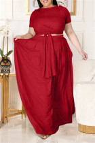 Red Fashion Casual Solid Basic O Neck Plus Size Two Pieces
