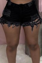 Black Casual Solid Ripped Mid Waist Skinny Denim Shorts