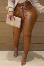 Coffee Fashion Casual Solid Basic Plus Size Trousers