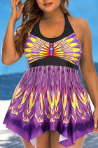 Purple Sexy Print Split Joint Halter A Line Plus Size Swimwear