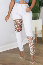 White Fashion Casual Solid Ripped Bandage Plus Size Jeans