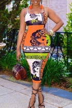 Orange Sexy Print Split Joint Backless Spaghetti Strap Pencil Skirt Dresses