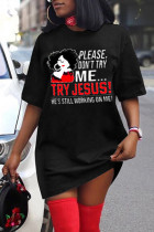 Black Fashion Casual Print Basic O Neck Short Sleeve Dress