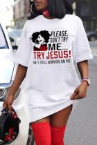 White Fashion Casual Print Basic O Neck Short Sleeve Dress