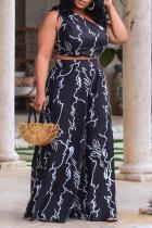 Black Fashion Casual Print Vests Pants Oblique Collar Plus Size Two Pieces