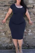 Royal Blue Casual Solid Split Joint O Neck Pencil Skirt Plus Size Dresses
