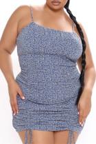 Light Blue Sexy Plus Size Print Draw String Backless Spaghetti Strap Sleeveless Dress